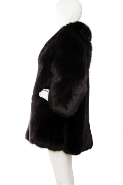 1980s Black Dyed Blue Fox Fur Coat 3