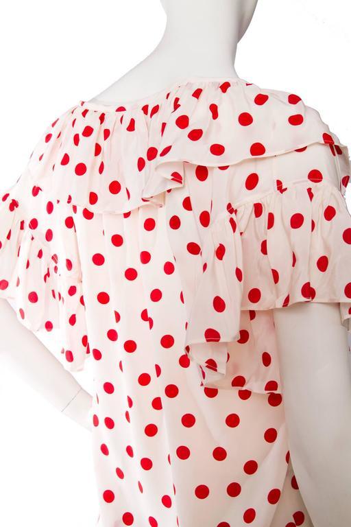 1980s Yves Saint Laurent Rive Gauche Silk Peasant Blouse  For Sale 3