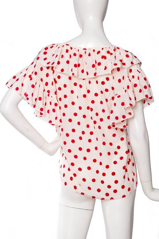 1980s Yves Saint Laurent Rive Gauche Silk Peasant Blouse  For Sale 1