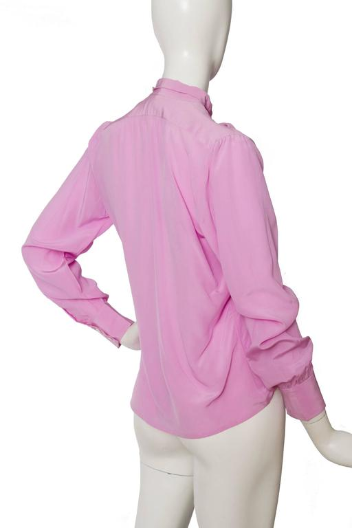 1970s Yves Saint Laurent Pink Silk Blouse For Sale at 1stdibs