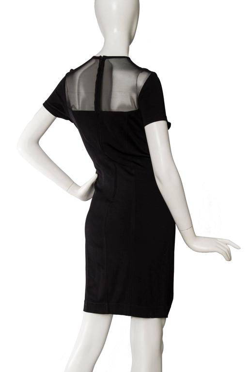1980s Lanvin Little Black Dress W. Structured Mesh Detail 4
