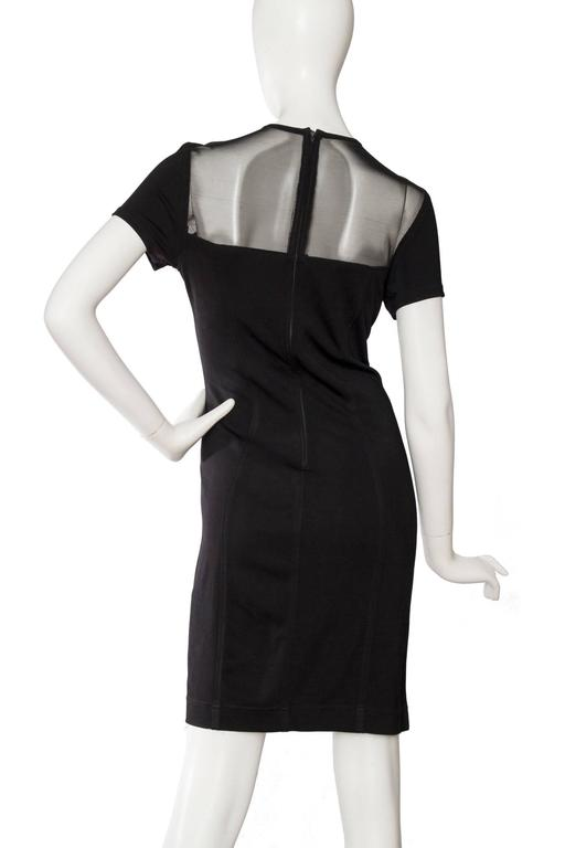 1980s Lanvin Little Black Dress W. Structured Mesh Detail 5
