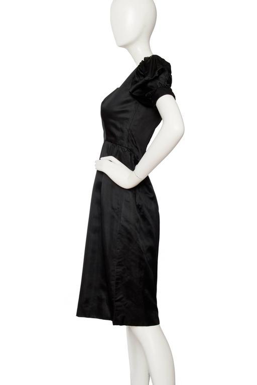 Black 70s Oscar de la Renta Silk Satin Cocktail Dress For Sale