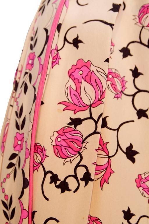 1960s Emilio Pucci Floral Print Silk Skirt 9