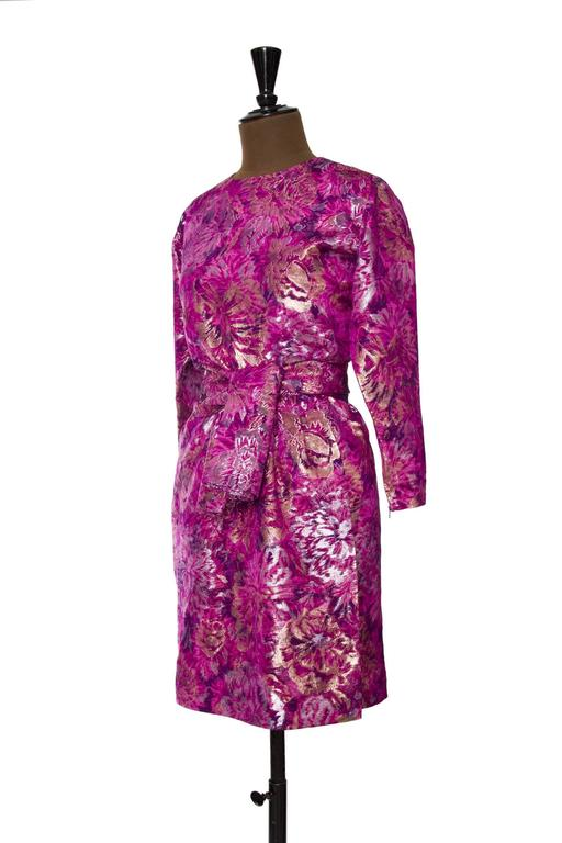 1980s Yves Saint Laurent Brocade Dress 3