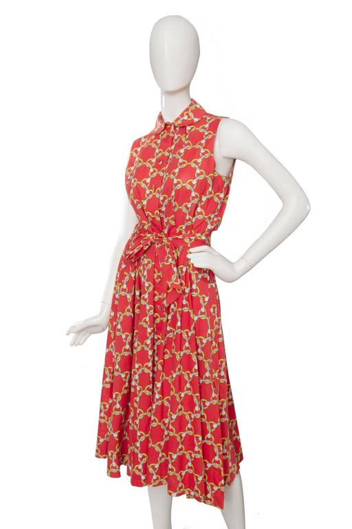 Red 1970s Hermès Horsebit Printed Cotton Dress For Sale