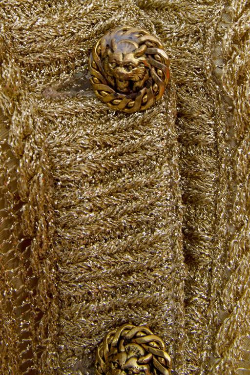 1960s Chanel Haute Couture Gold Lurex Cardigan  For Sale 3