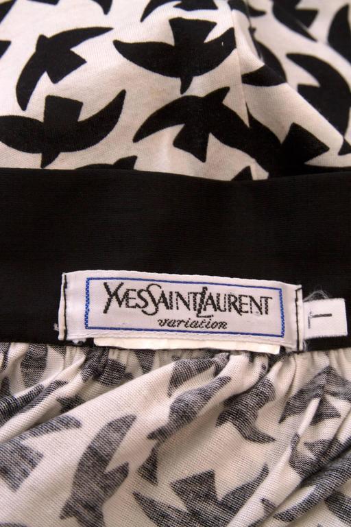 Black Iconic 80s Yves Saint Laurent Bird Print Wrap Skirt  For Sale