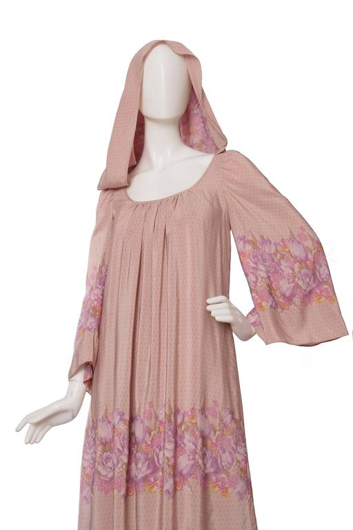 Women's 1970s Ted Lapidus Hooded Silk Dress For Sale