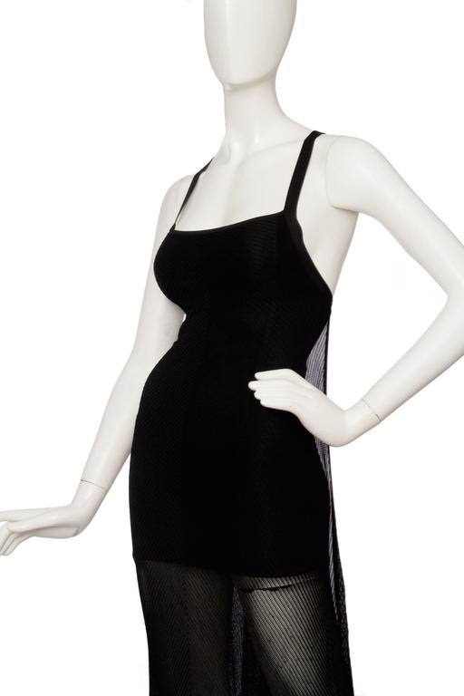 1990s Herve Leger Black Evening Gown  8
