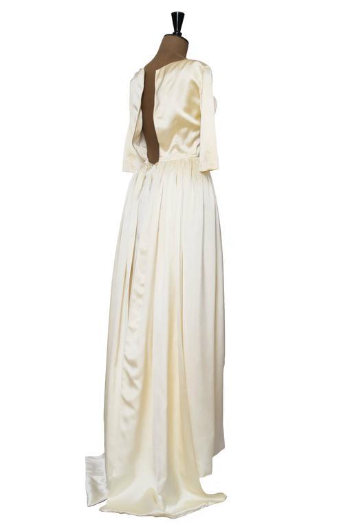 1960 Maggy Rouff Silk Wedding Gown W. Bows 4