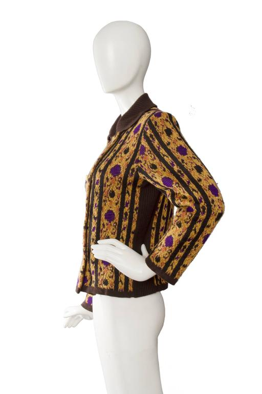 Brown 1980s Yves Saint Laurent Wool Cardigan For Sale