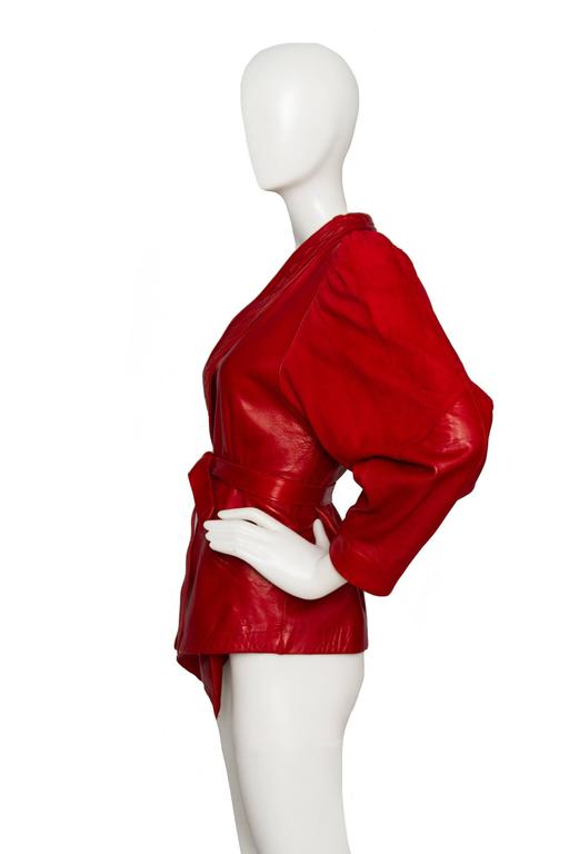80s Bright Red Jean Claude Jitrois Leather Jacket 3