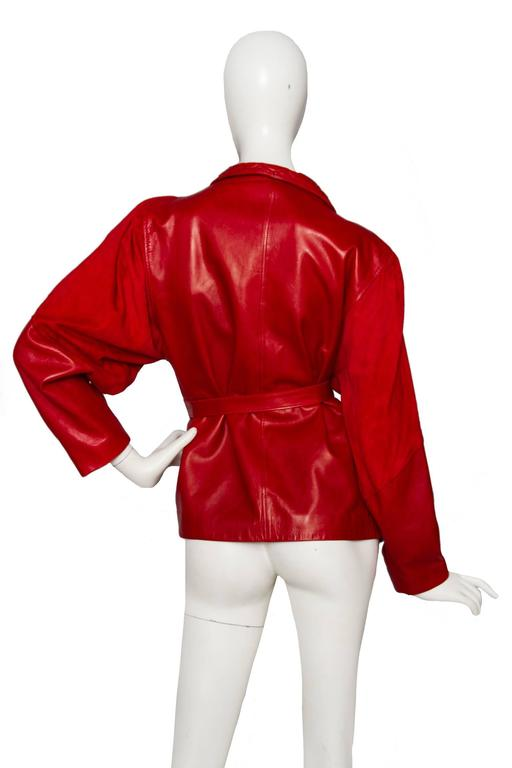 80s Bright Red Jean Claude Jitrois Leather Jacket 4