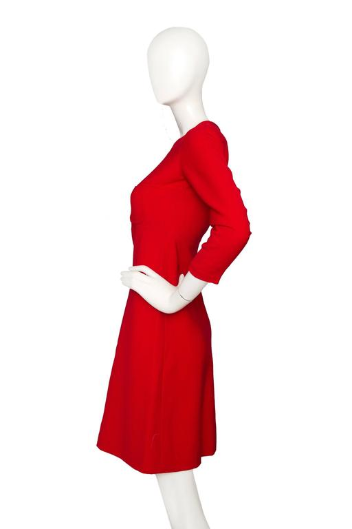 60s Mod Christian Dior Red Wool A-line Day Dress In Good Condition For Sale In Copenhagen, DK
