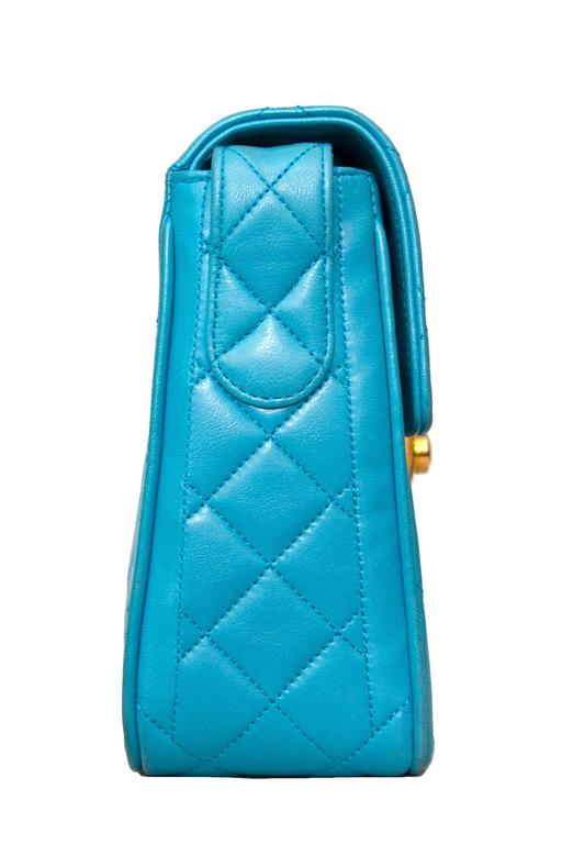 Blue 90s Turquoise Chanel Quilted Leather Shoulder Bag  For Sale
