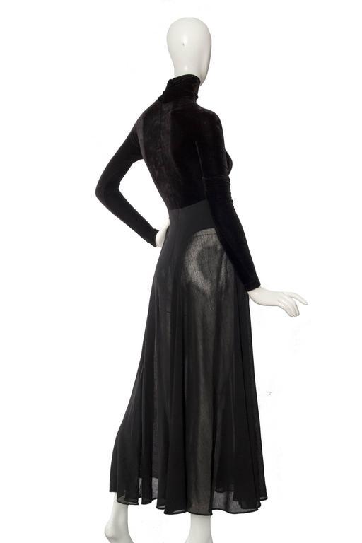 A 1990s Donna Karan Black Velvet Evening Gown  8