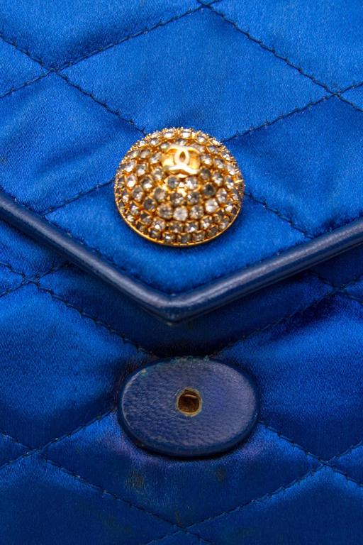 An 80s Glamorous Chanel Quilted Blue Satin Evening Bag 7