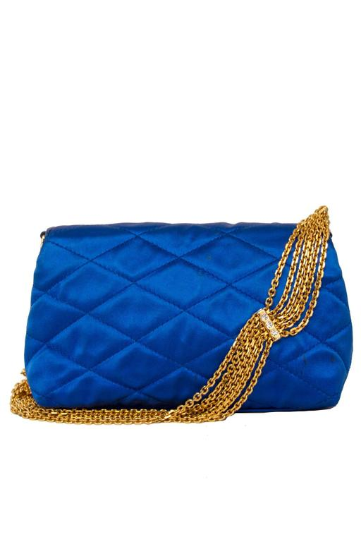 An 80s Glamorous Chanel Quilted Blue Satin Evening Bag 3