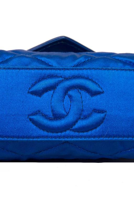 An 80s Glamorous Chanel Quilted Blue Satin Evening Bag 5