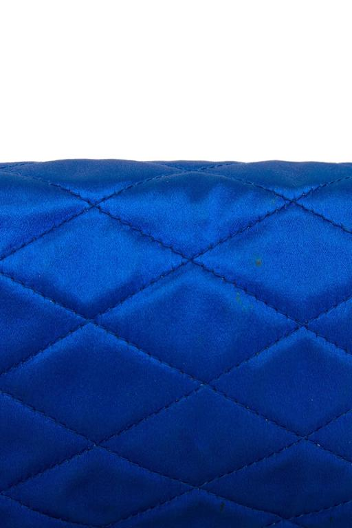 An 80s Glamorous Chanel Quilted Blue Satin Evening Bag 8