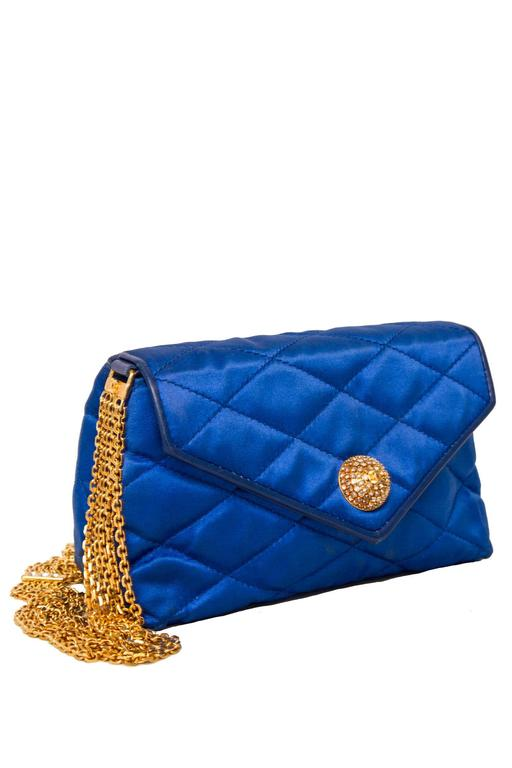 An 80s Glamorous Chanel Quilted Blue Satin Evening Bag 2