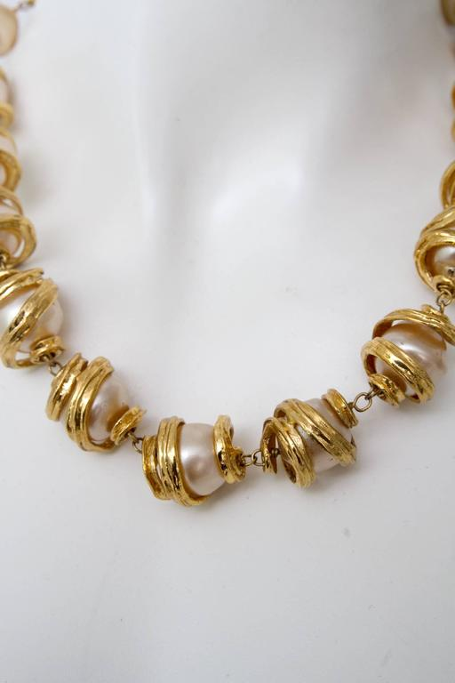 A 1980s Yves Saint Laurent Mother of Pearl Gold Toned Necklace  5