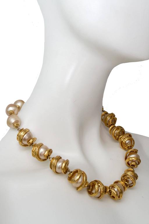 A 1980s Yves Saint Laurent Mother of Pearl Gold Toned Necklace  3