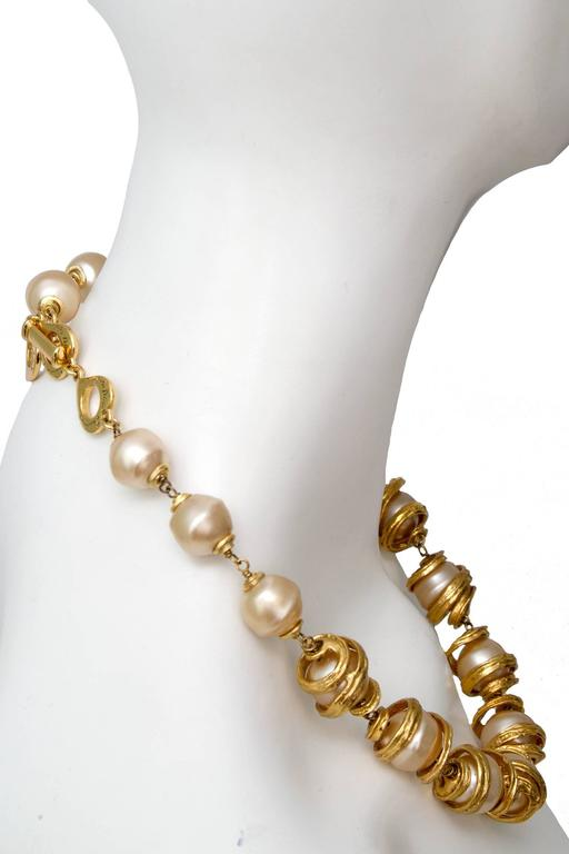 A 1980s Yves Saint Laurent Mother of Pearl Gold Toned Necklace  4