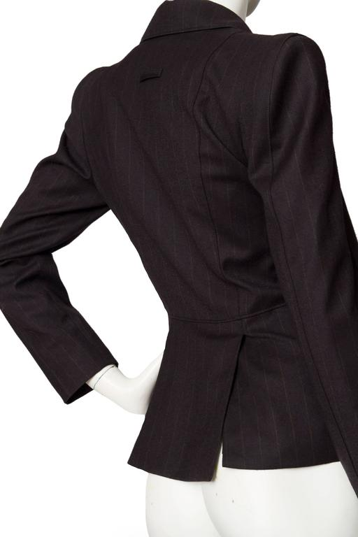 A 1990s Jean Paul Gaultier Brown Wool Pinstriped Blazer 7