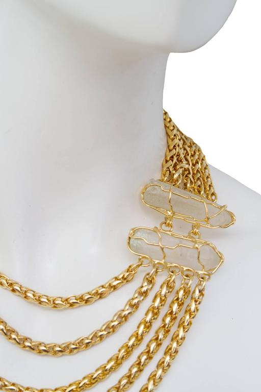 A Rare Yves Saint Laurent Crystal & Gold-toned Multi-strand Chain Necklace 2