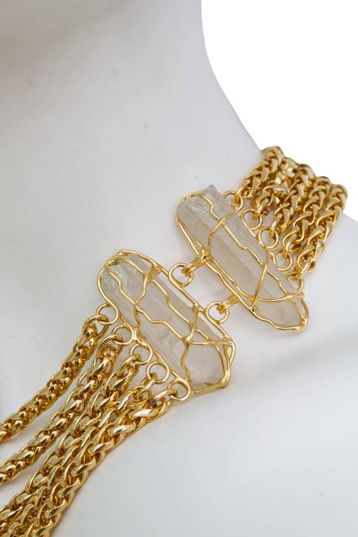 A Rare Yves Saint Laurent Crystal & Gold-toned Multi-strand Chain Necklace 3