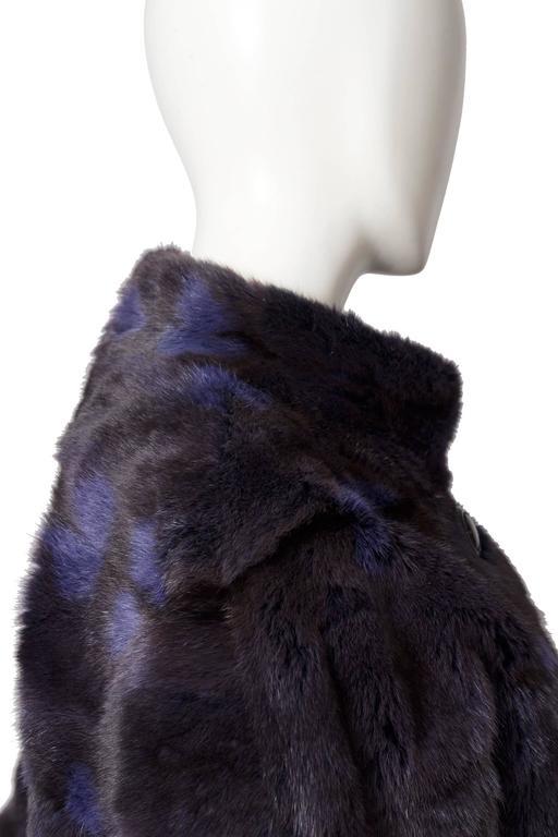 A 1980s Celine Dyed Mink Fur Coat For Sale 2