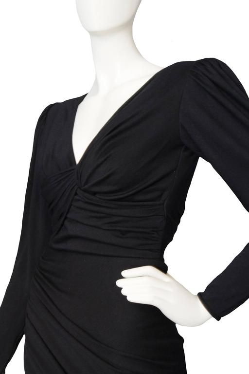 Slinky 80s Black Ungaro Draped Cocktail Dress For Sale 1