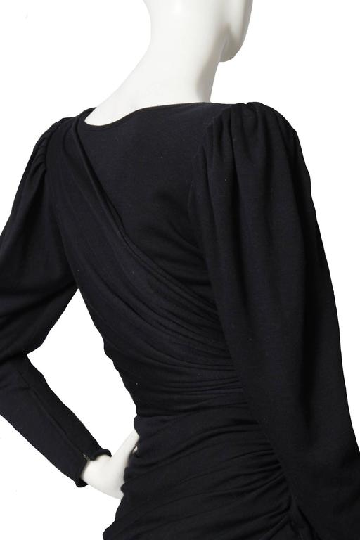 Slinky 80s Black Ungaro Draped Cocktail Dress For Sale 2