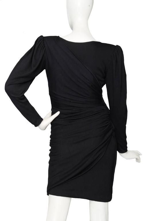 Slinky 80s Black Ungaro Draped Cocktail Dress In Good Condition For Sale In Copenhagen, DK