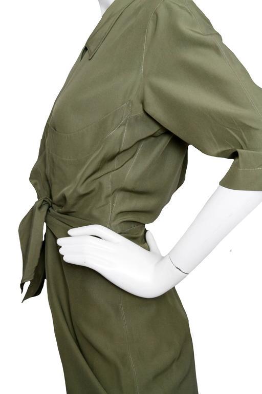 80s Thierry Mugler Forest Green Silk Shirt Dress 6