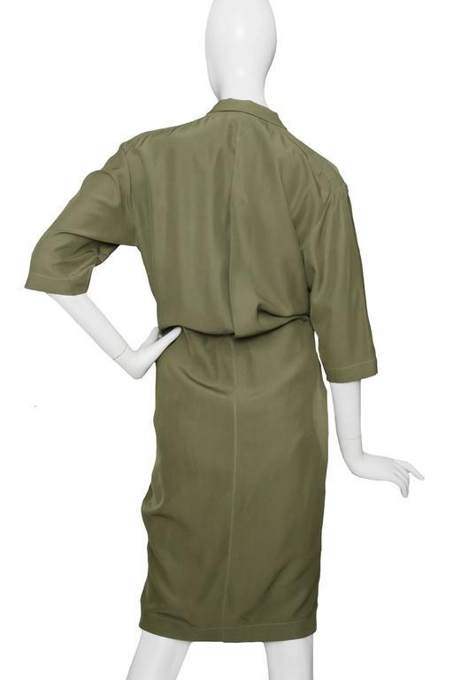 80s Thierry Mugler Forest Green Silk Shirt Dress 3