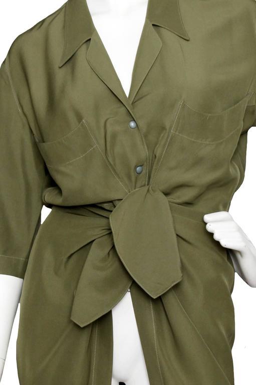 80s Thierry Mugler Forest Green Silk Shirt Dress 4