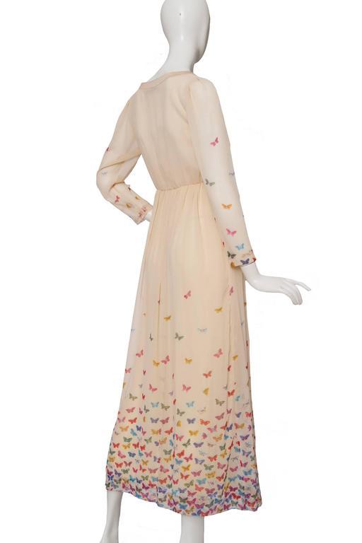 Beige A Stunning  Hanae Mori Butterfly Silk Dress  For Sale