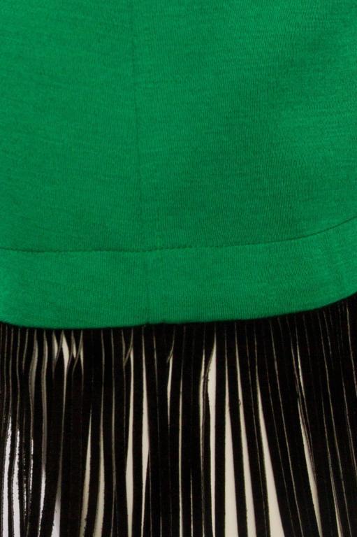 An 80s Yves Saint Laurent Bright Green Fringed Wrap Skirt 5