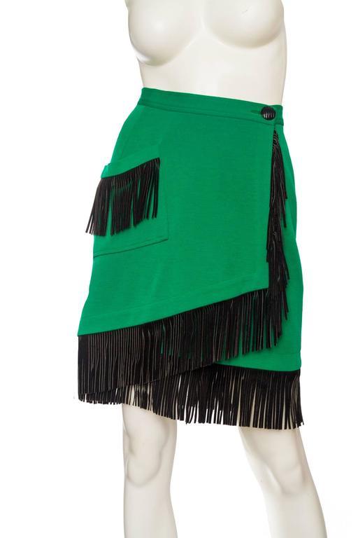 An 80s Yves Saint Laurent Bright Green Fringed Wrap Skirt 3