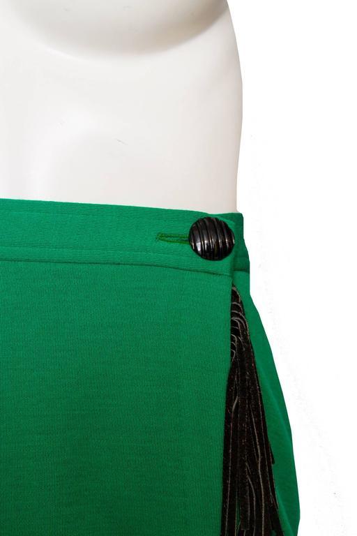 An 80s Yves Saint Laurent Bright Green Fringed Wrap Skirt 6