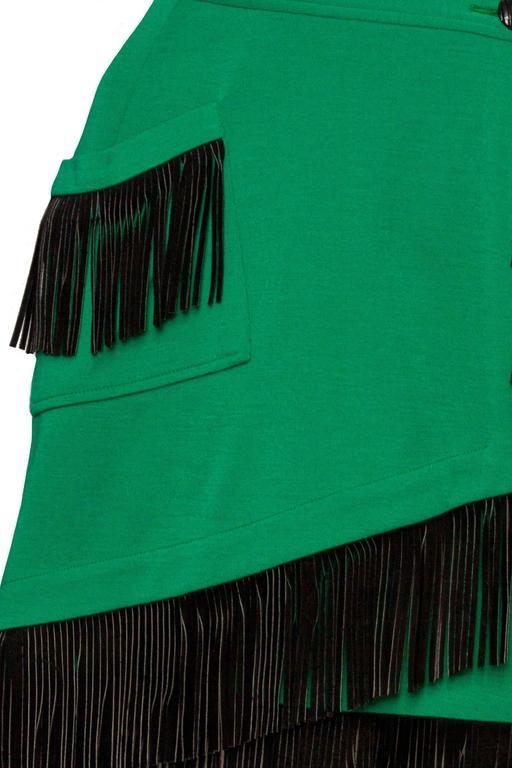 An 80s Yves Saint Laurent Bright Green Fringed Wrap Skirt 7