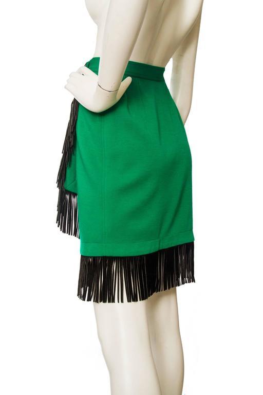 An 80s Yves Saint Laurent Bright Green Fringed Wrap Skirt 4