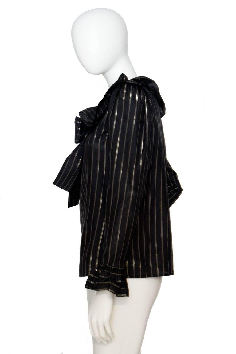 Black 80s Yves Saint Laurent Sheer Lurex Blouse W. Ruffle Collar  For Sale