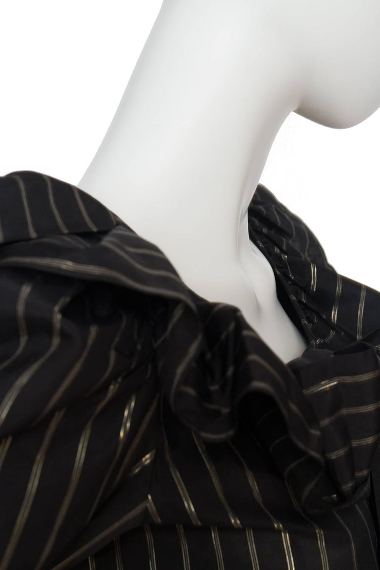 Women's 80s Yves Saint Laurent Sheer Lurex Blouse W. Ruffle Collar  For Sale