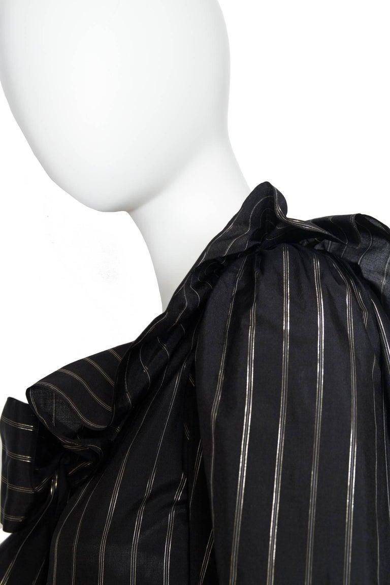 80s Yves Saint Laurent Sheer Lurex Blouse W. Ruffle Collar  6