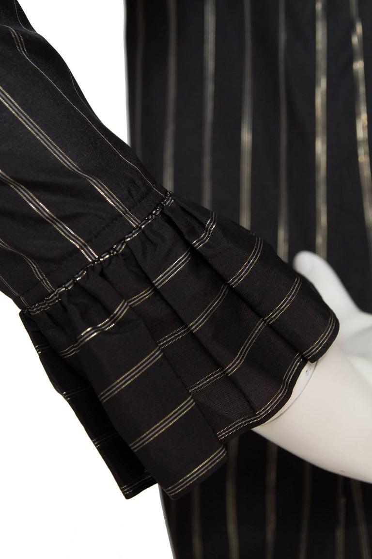 80s Yves Saint Laurent Sheer Lurex Blouse W. Ruffle Collar  8