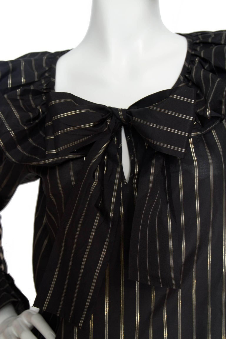 80s Yves Saint Laurent Sheer Lurex Blouse W. Ruffle Collar  In Good Condition For Sale In Copenhagen, DK